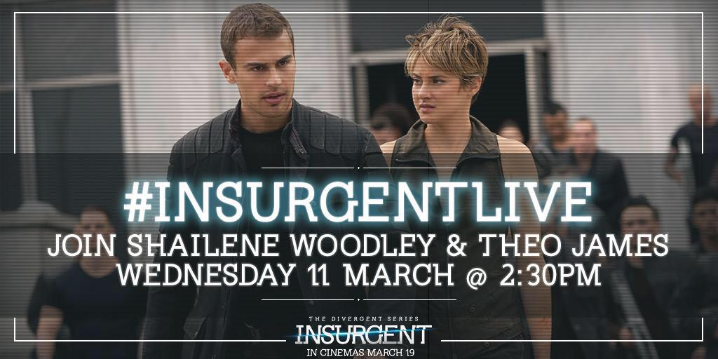 Excited to host @InsurgentMovie: with  @ShaileneWoodley and #TheoJames next week. http://t.co/iUIMYAd9dN