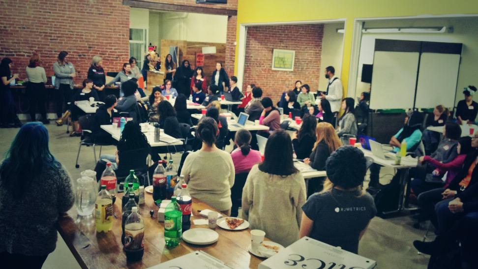 70+ @LadyHacks_ intro'ing themselves: what are your skills and how many hackathons have you been to? #LadyHacks2015 http://t.co/EceMjlNCmZ