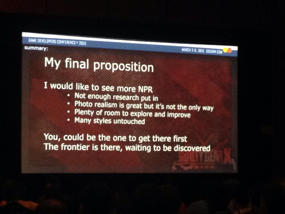 "Arc System Works' Junya Motomura urges devs: ""non photorealistic rendering... the frontier is there"" http://t.co/lVxC3f8Mqc"
