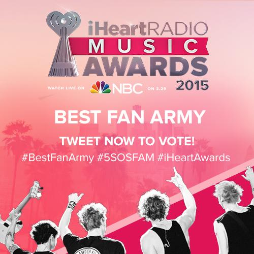 Who Thinks @5SOS And Their #5SOSFam Are The #BestFanArmy #iHeartAwards RT TO VOTE! http://t.co/2r8iAFlnnV