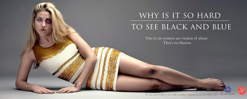 And the Salvation Army uses the dress whose color people were fighting over in a fantastic ad. http://t.co/a2m11TSZ5d