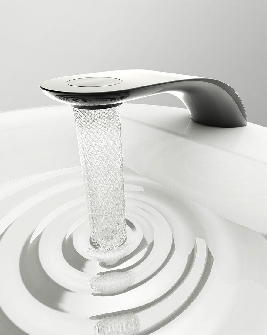 """これいいね。ロンドン在住の学生が考えた蛇口のデザイン。「螺旋状に回転する美しい幾何学模様""""のような水となり、節水にも貢献できる」。この蛇口にすれば、流水が「15%減」にできるそう。mymodernmet.com/profiles/blogs… pic.twitter.com/5bNhkYNlme"""