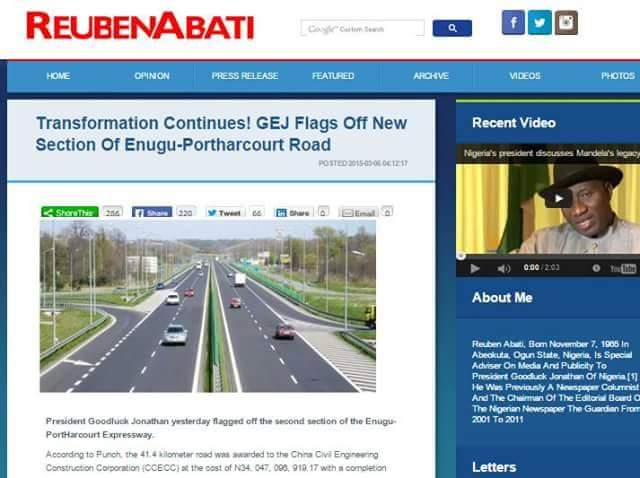Abati caught again! Uploads Cameroon road As GEJ built Nigerian road. [Photos]