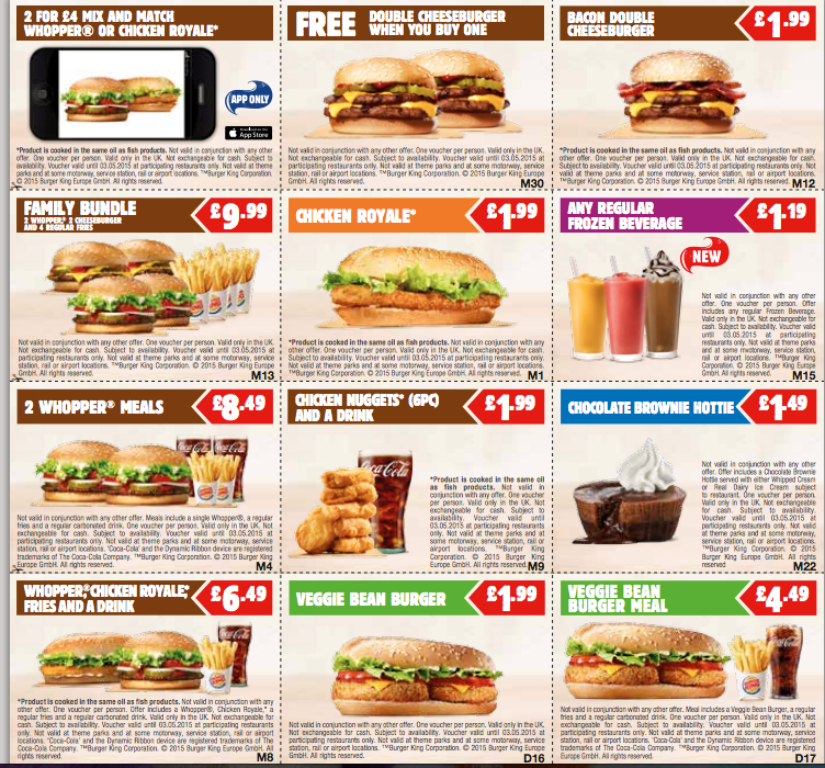 bacon double cheeseburger £ chicken royale* £ m30 m12 m15 m21 free double cheeseburger when you buy one veggie bean burger meal £ d17 m8 veggie bean burger £ d16 m1 2 whopper® meals £ m4 2 for £4 mix and match.