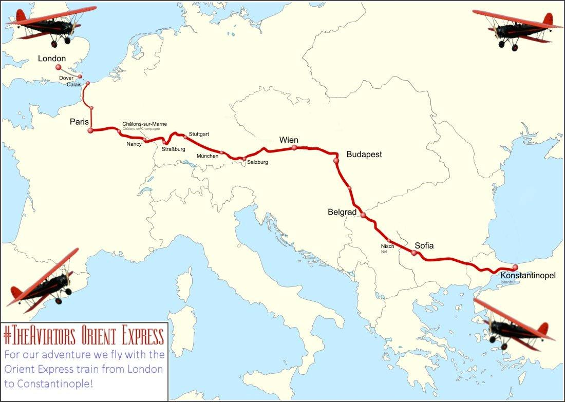 Let's have a look at #TheAviators Orient Express route for the Adventure - from London to Konstantinopel! http://t.co/8NGl0hzxvd