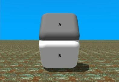 AとBの2つの面が交わる真ん中部分を指で隠すと同じ色に見えるよ。