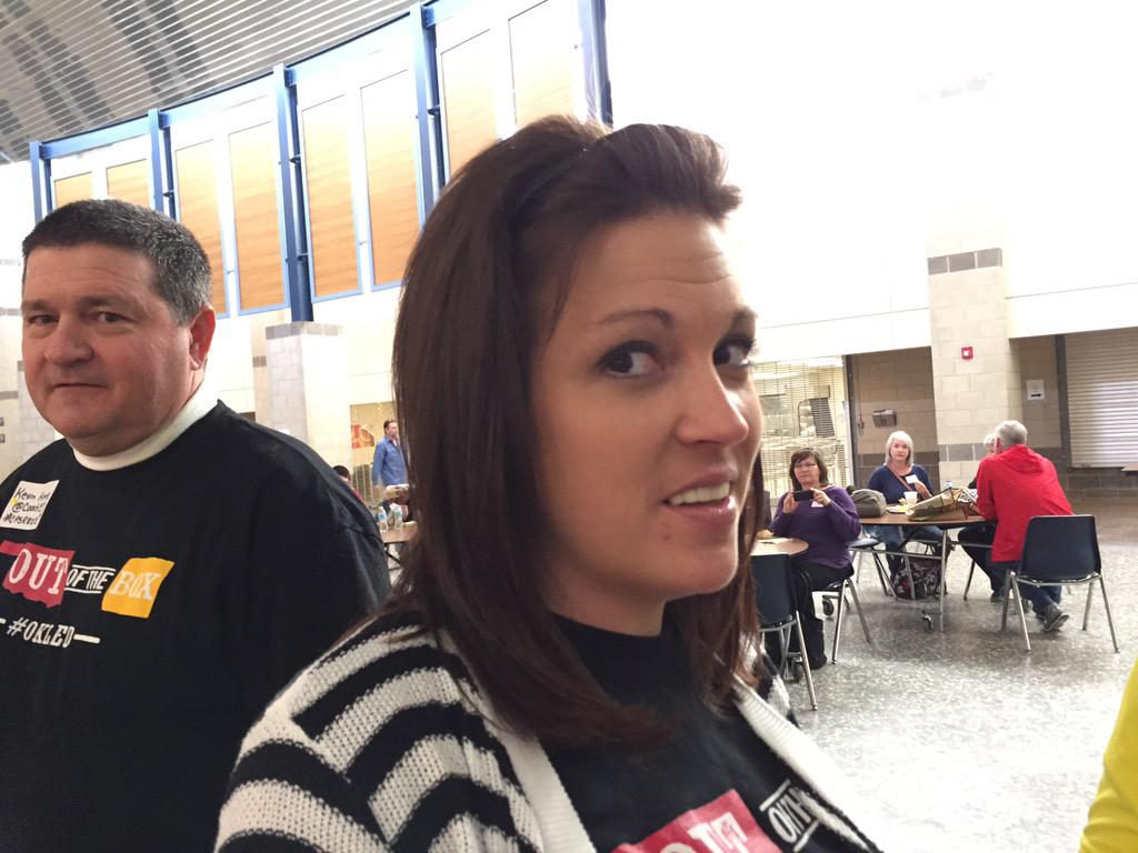 .@MrsBeck25 and @coach57 looking great before #EdCampOKC kicks off! http://t.co/odGAtTE7f0