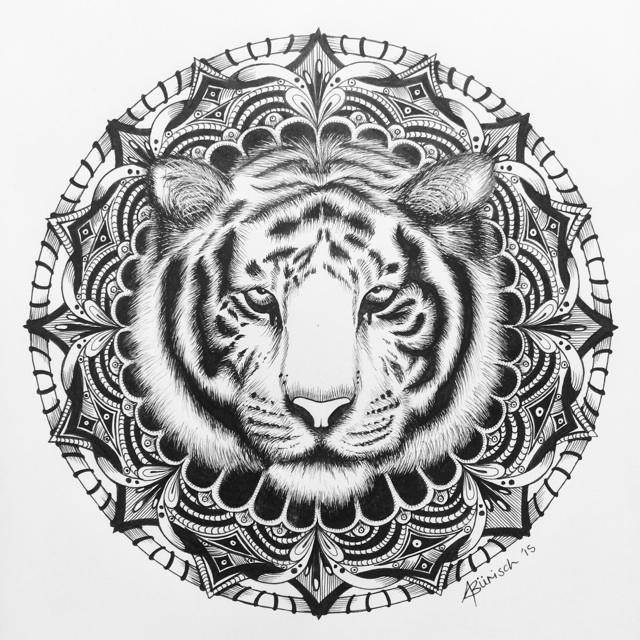"Tiger mandala coloring pages ~ minikiki on Twitter: ""The completed piece #tiger #mandala ..."