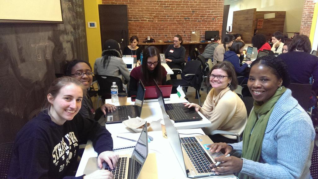 The STEM-women team takes some time off to smile at the camera :) #LadyHacks2015 http://t.co/5Smm1NApZc