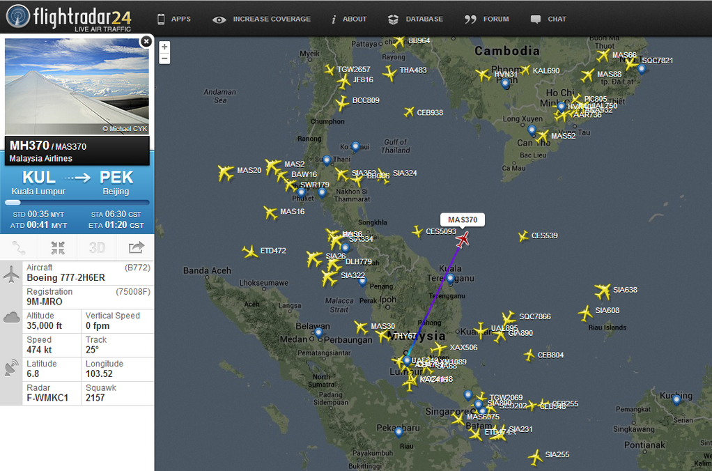 Flightradar24 on twitter today one year ago flight mh370 1114 am 7 mar 2015 gumiabroncs Choice Image