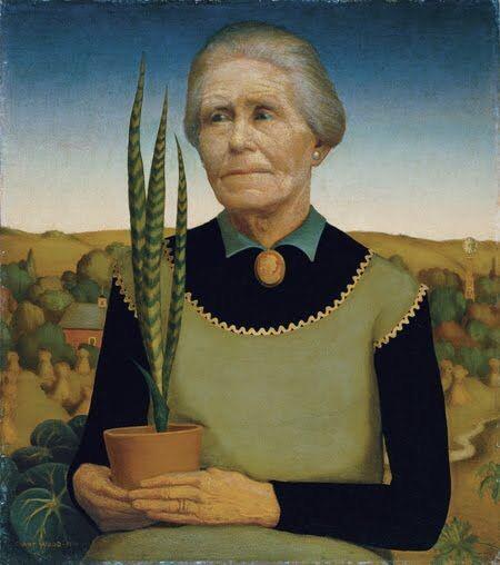 """""""@VicoLudovico: #Regionalism #DonneEFiori #ArtLovers  Grant #Wood Woman with Plants,1929  @Asamsakti  @alecoscino http://t.co/vnIhkEjwpy"""""""