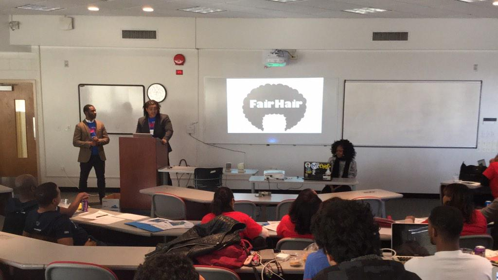 """FairHair"" delivery for salons, barbershops a community for the business. @HowardU #HUHacks - definitely logo winner http://t.co/hqHpbyj6Ti"