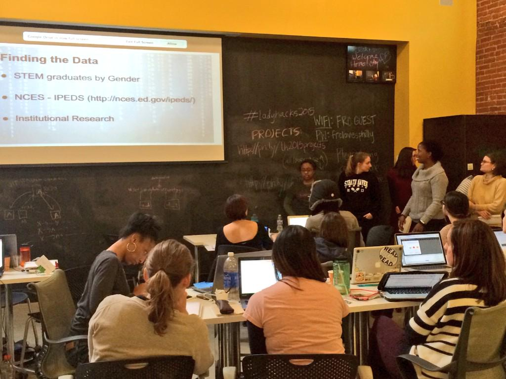 First #LadyHacks2015 team presenting their research on national averages of women STEM graduates in US colleges. http://t.co/LD2etJraJ7