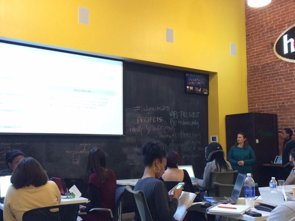".@sondrawillhite presenting w her group ""wiki wow"" aimed to find a diff approach 4 wmn to be wiki eds #LadyHacks2015 http://t.co/nSx32QJ1n5"