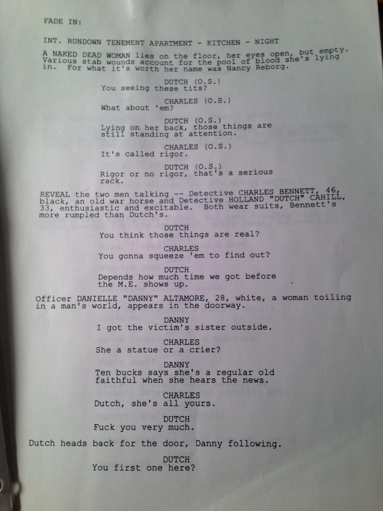 Page one. Danny hands over the crime scene to Dutch and Charles. Yes, Charles. http://t.co/h4eqmtTcyV