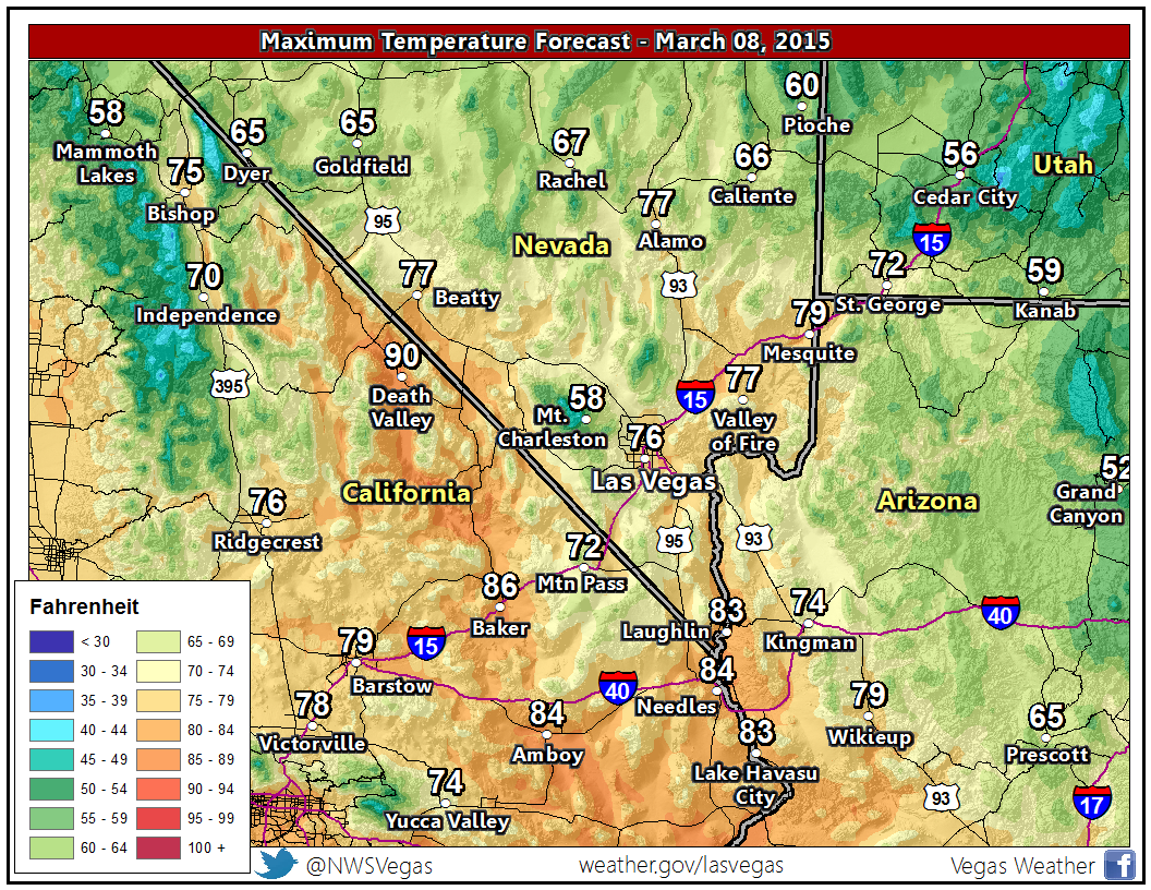 Another warm day ahead! Use precaution as UV index is moderate 2day #nvwx #azwx #cawx #lasvegasweather