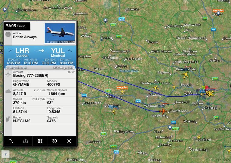 a3e685ddde74  BA95 LHR-YUL Boeing 777-236(ER) B772 G-YMME returning to  LHR no squawk  7700-reason unknown http   fr24.com BAW95 5b3af5d pic.twitter.com 2MIjCqm6ae