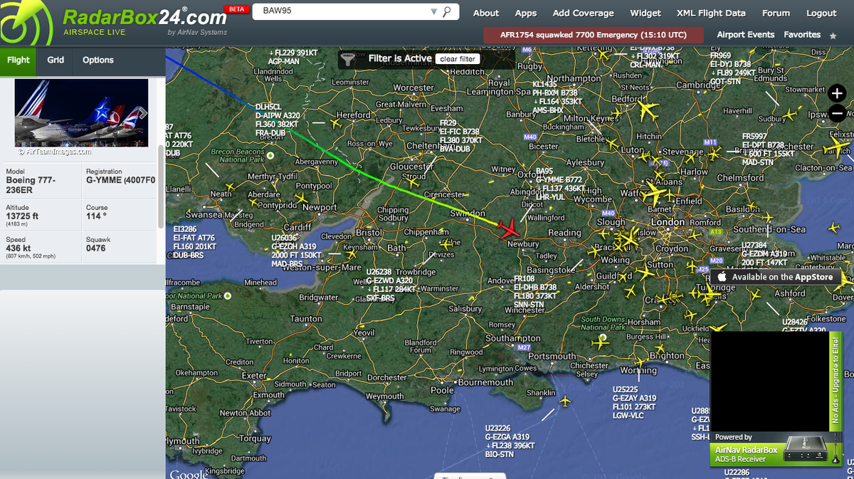 0393b2643976  BA95 from London to Montreal is descending to LHR