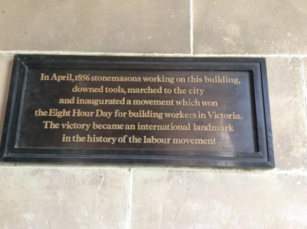 At work. @unimelb doesn't recognise Labor Day. Ironic since it all started here. http://t.co/1eh5YBTue1