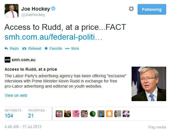 Oh for the love of LOL. Hockey says can't remember official Twitter handle - @JOEHOCKEY or this tweet #HockeyFairfax http://t.co/6rgZICRSGE