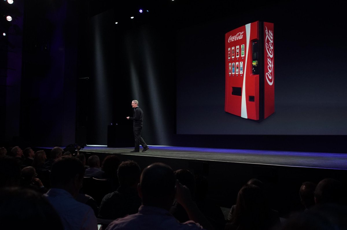 Apple Pay now accepted on Coke vending machines. Use phone to pay for soda cans. http://t.co/vJdajSigVd