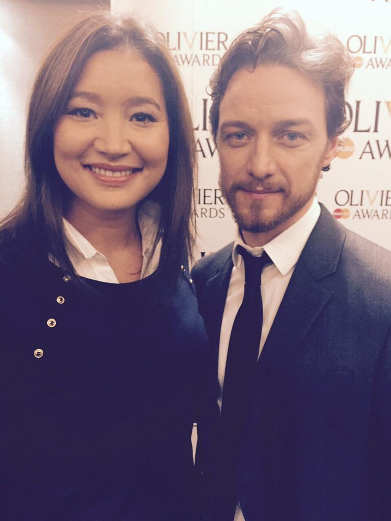 With James McAvoy for #OlivierAwards nominations - he & Mark Strong Gillian Anderson Penelope Wilton up for awards http://t.co/MOmx5hEGOI