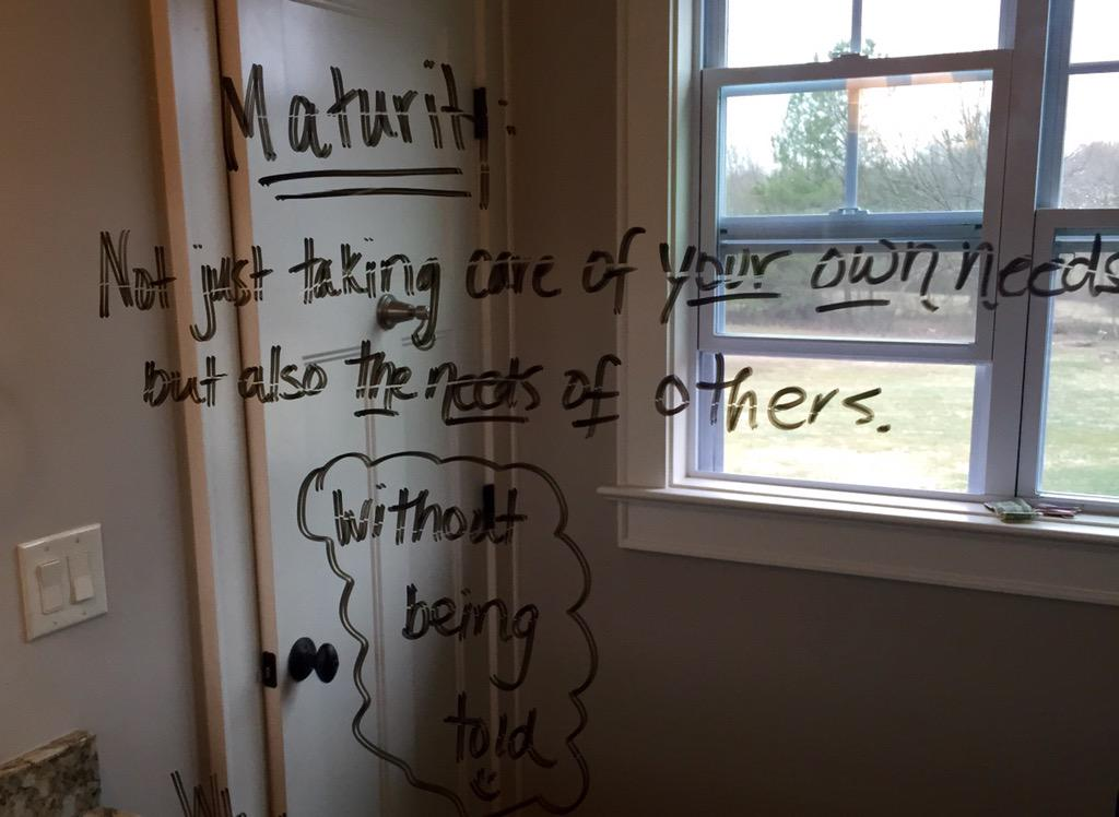 David Benham's wife put this definition of maturity on their teenage son's bathroom mirror