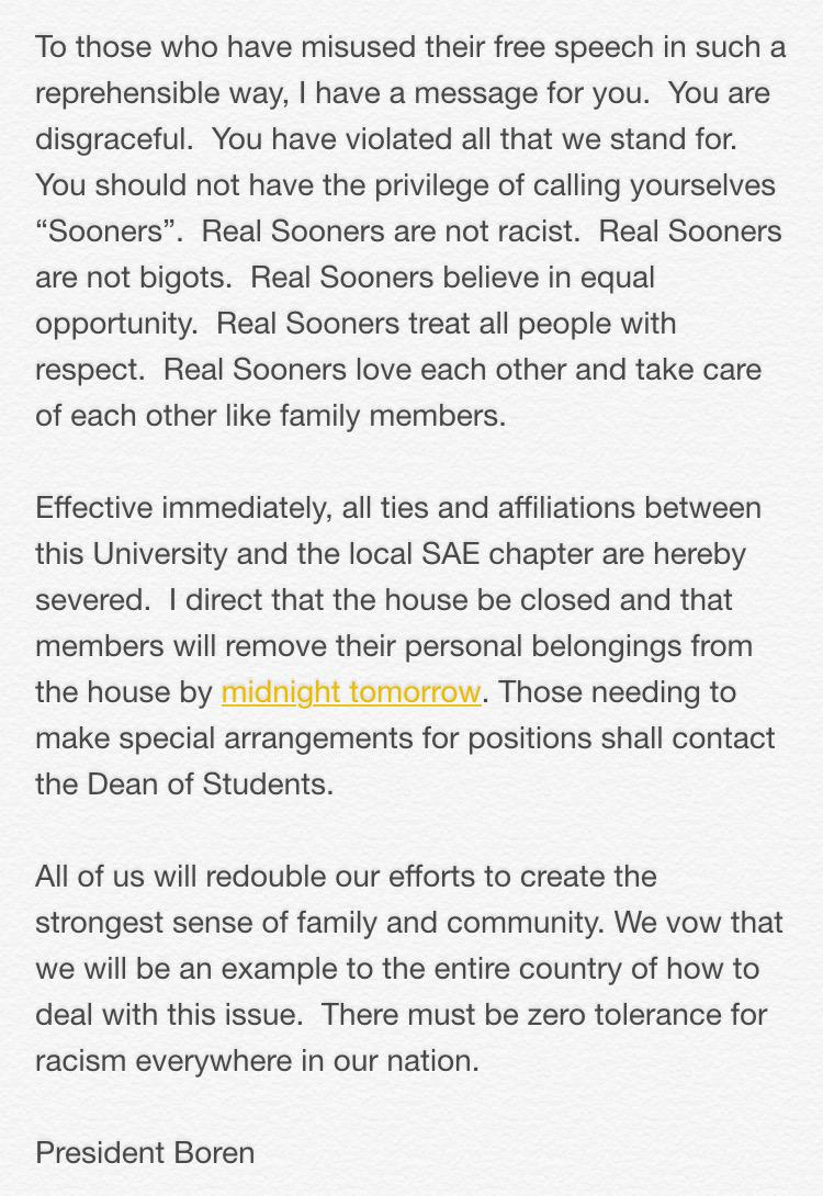 Kudos to @President_Boren. This is exactly the type of action that was needed at the @UofOklahoma http://t.co/GMWT9Xn1mP