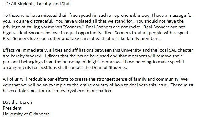 BREAKING: #OU President David Boren sends e-mail blast to students,faculty,staff. Re: #SAE video  Screenshot: http://t.co/QQThjyldq1