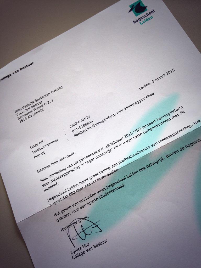 Mooie brief van @AgnitaMur @HSLeidenNL binnen, zijn jullie er zelf ook donderdag bij? http://t.co/XyOyG7BF9m http://t.co/TzxShZUCY8