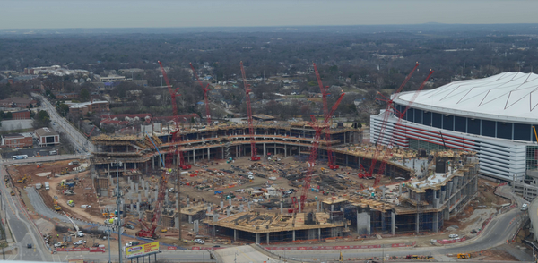 Great shot of the construction of the new stadium in Atlanta that will open with the debut of @MLSAtlanta2017 in 2017 http://t.co/bGwmbd8X8w