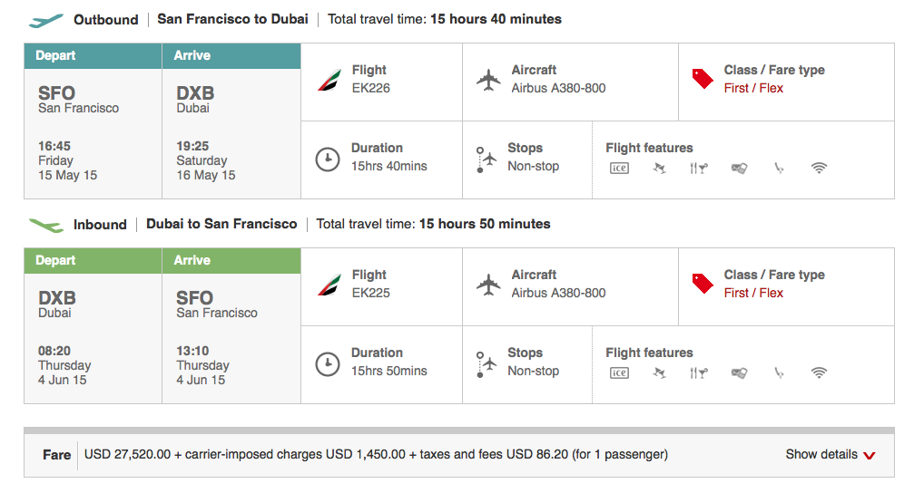 On the other hand, the $17,000 Apple Watch is cheaper than flying SF to Dubai in an Emirates A380 first class suite. http://t.co/djXIHJNA8S