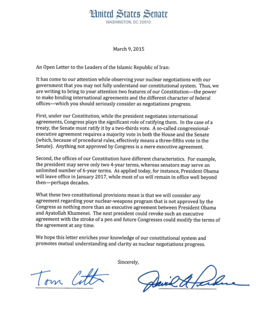 Fallout Seen Worldwide From Republicans Letter to Iran – Disapproval Letter