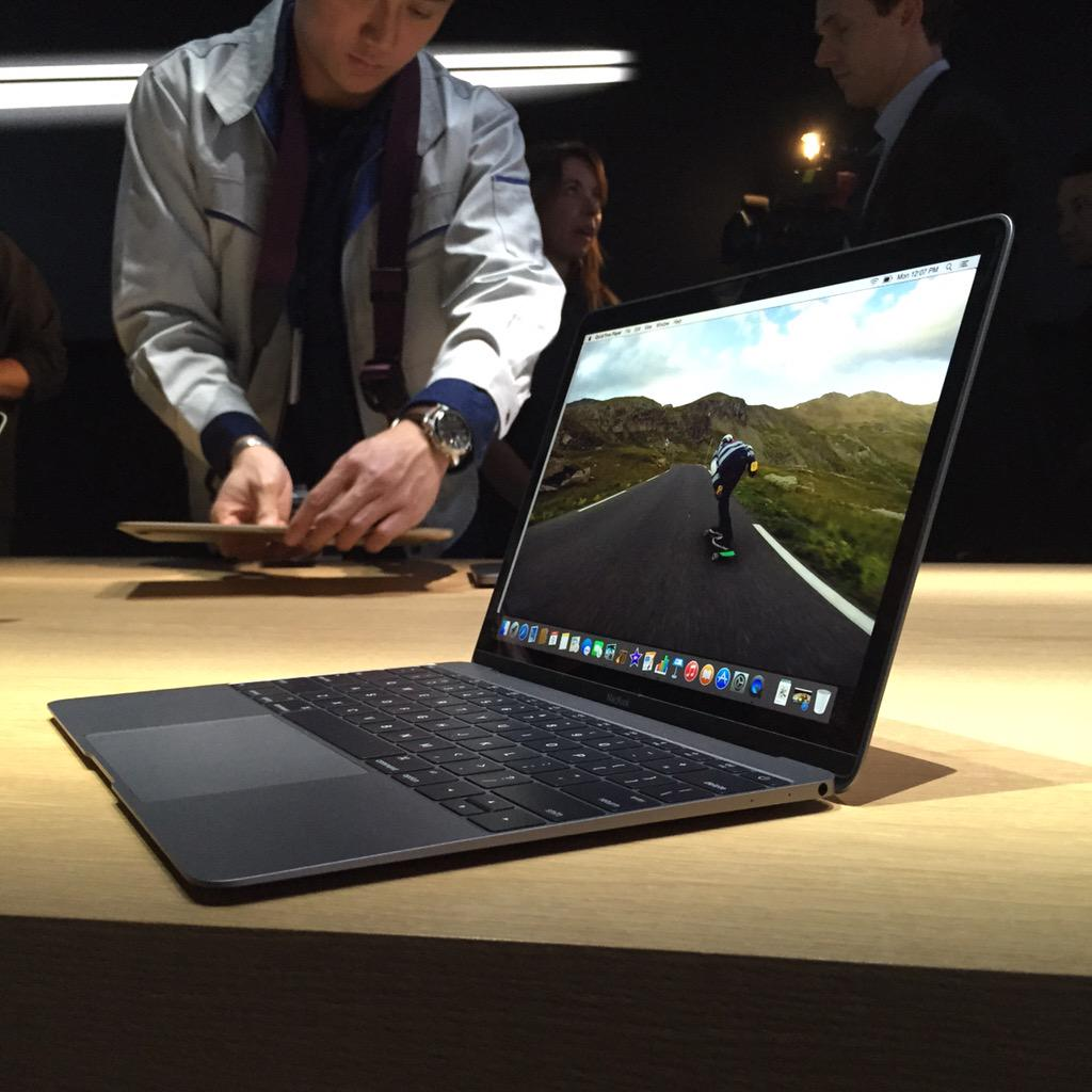 The new MacBook up close and personal, in space gray. #AppleEvent http://t.co/a4UgMvgegy