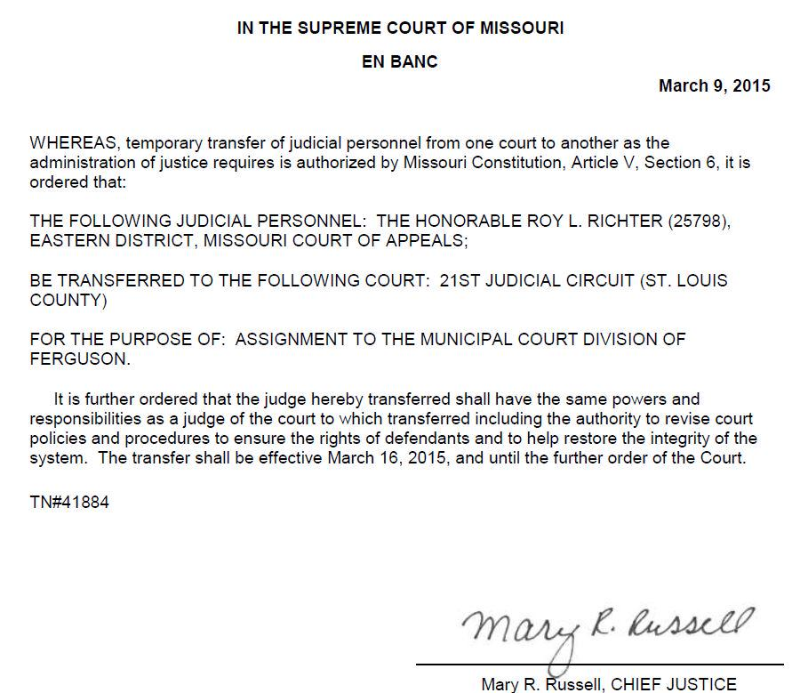 Missouri Supreme Court just waded into #Ferguson big time: Replacing judge, giving him latitude to make changes: http://t.co/52HPu3mLKy