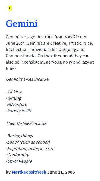 Gemini likes and dislikes