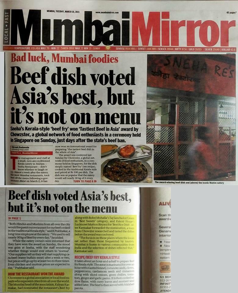The irony of Mumbai's Sneha's beef fry winning the Tastiest Beef Dish in Asia @Chowzter Award http://t.co/0kjr4Sh4xf http://t.co/xnRKNhB5lZ