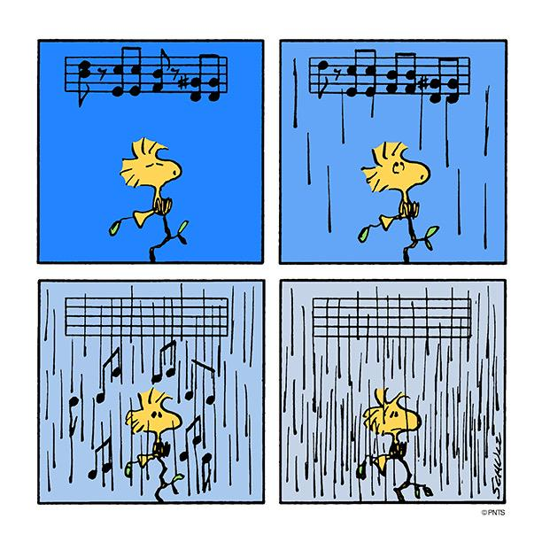 Image result for images peanuts woodstock rain