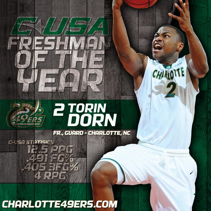 Congrats to @TorinDorn15 - #CUSA Freshman of the Year!! Dorn also named to Freshman team, Henry All-Defensive Team. http://t.co/zoHkjIuaHD