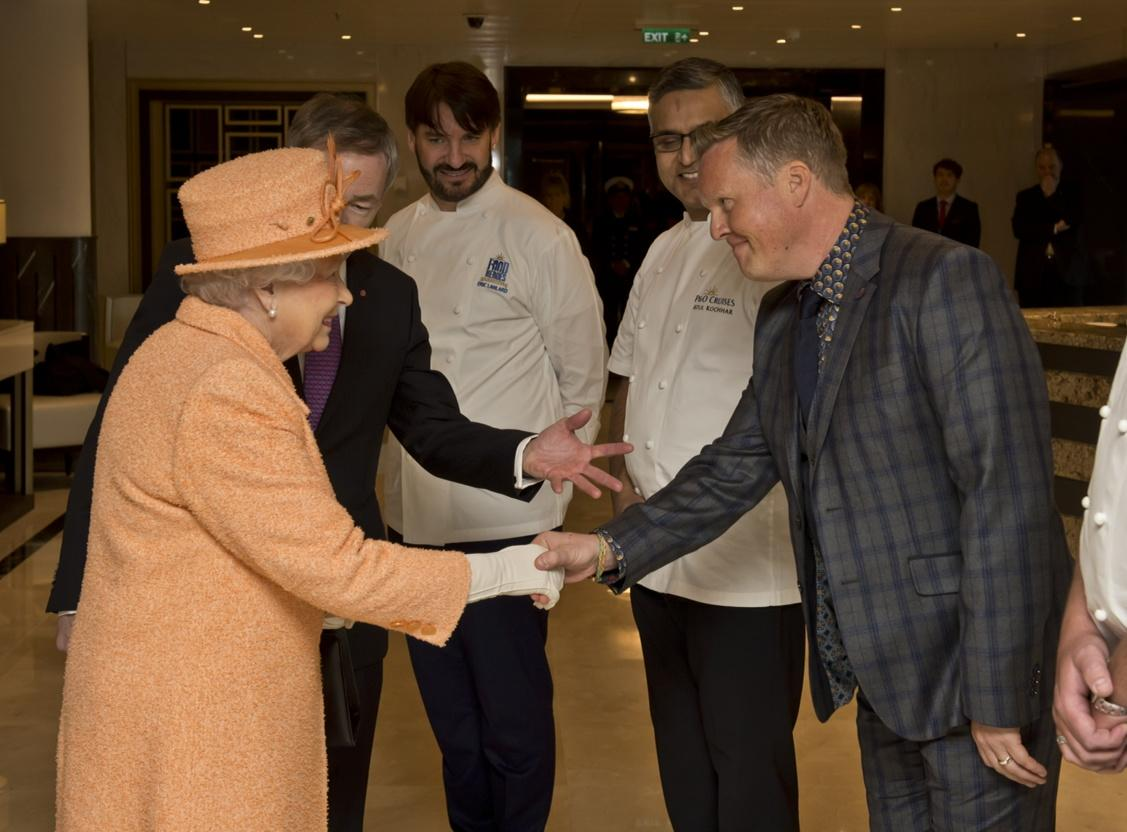 So proud to be presented to Her Majesty at the launch of @pandocruises #Britannia http://t.co/uLqxVV4u5r