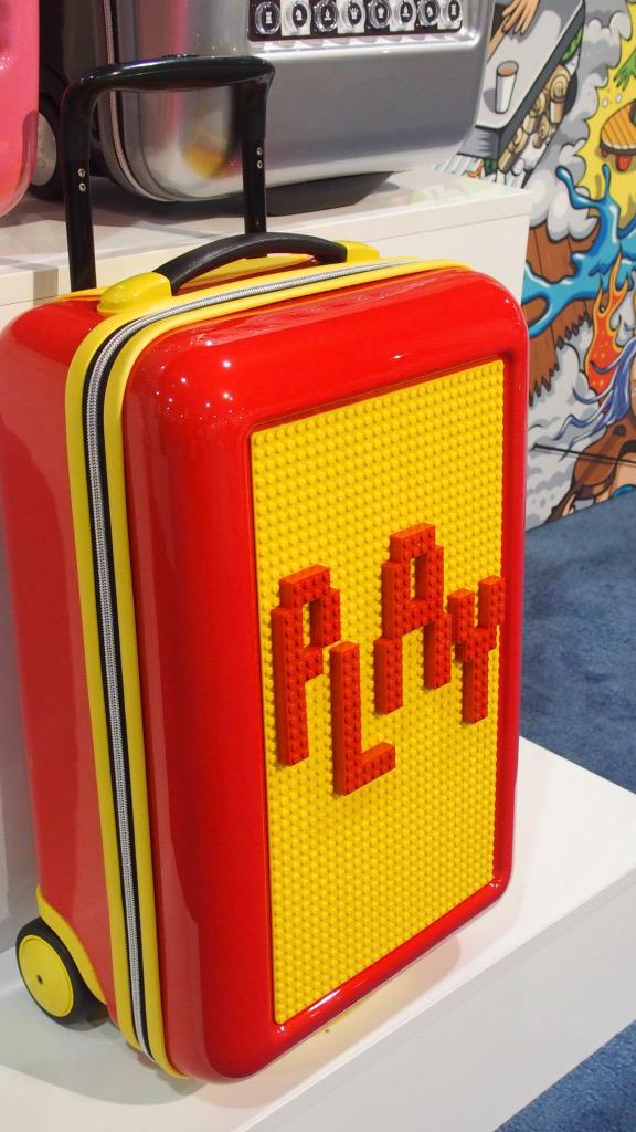 How cool is a bag you can use Leggo on? Or play chess on? #PlayLuggage at @TravelGoodsShow