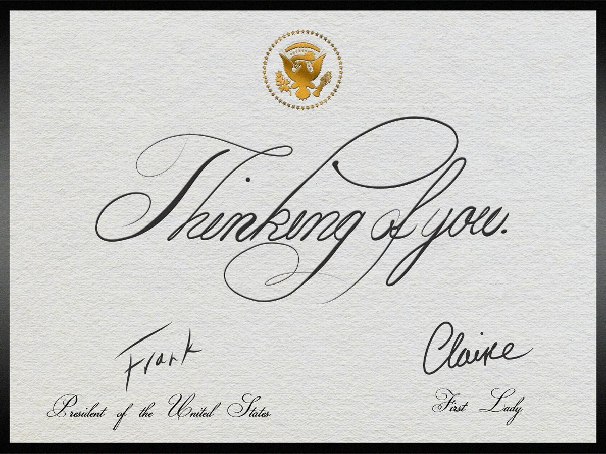 Cuidado: o presidente e a primeira-dama estão pensando em  você.  #DemocraciaUnderwood #HouseofCards