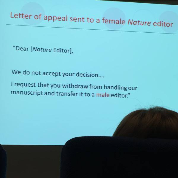 In conclusion: Scientists. Totally never sexist. At all. From a talk given by the EIC of @nature, via @JenLucPiquant. http://t.co/SNj3qCt2mm