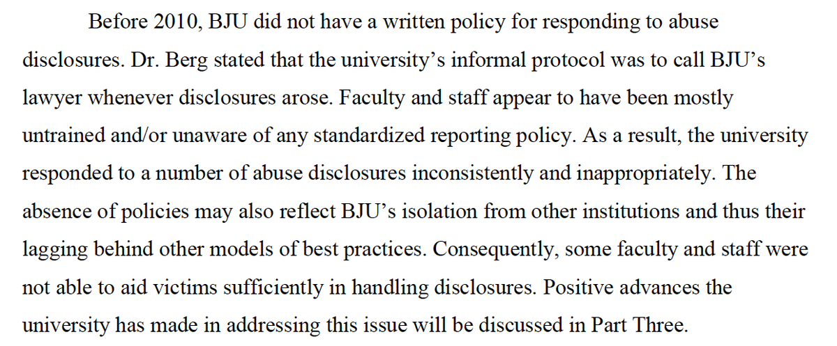 For 83y BJU had no reporting policy. #GRACEReport vs. @BJUPresident #ConOrCandor #BJUisNOTSafe Page 192. http://t.co/u5dAttMTtM