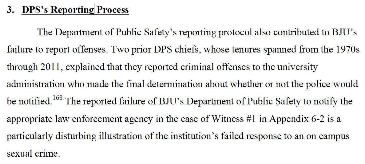 An entire dpt contributed to the failure to report. #GRACEReport vs. @BJUPresident #ConOrCandor #BJUisNOTSafe Pg192 http://t.co/blujadw2fQ