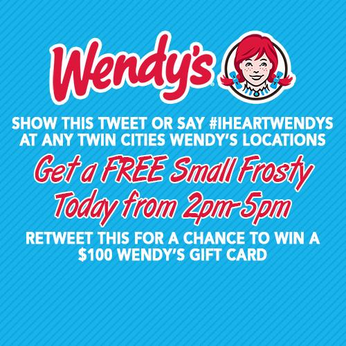 Say #iHeartWendys at TC Metro @Wendys TODAY 2-5pm & get FREE Sm Frosty. RT for a chance at a $100 Wendy's gift card! http://t.co/fPH5RJePJ3