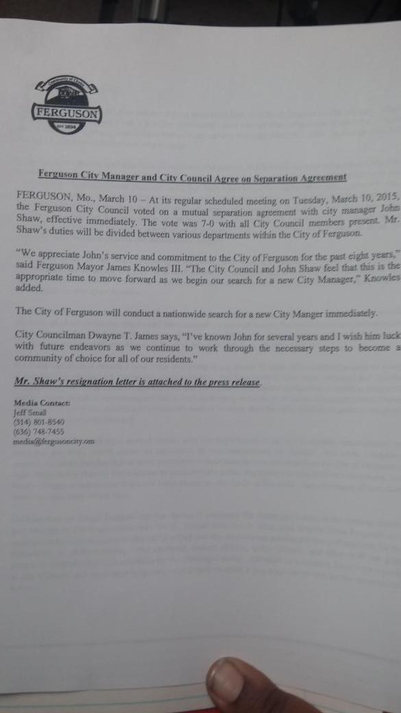 Ferguson City Manager John Shaw Resigns