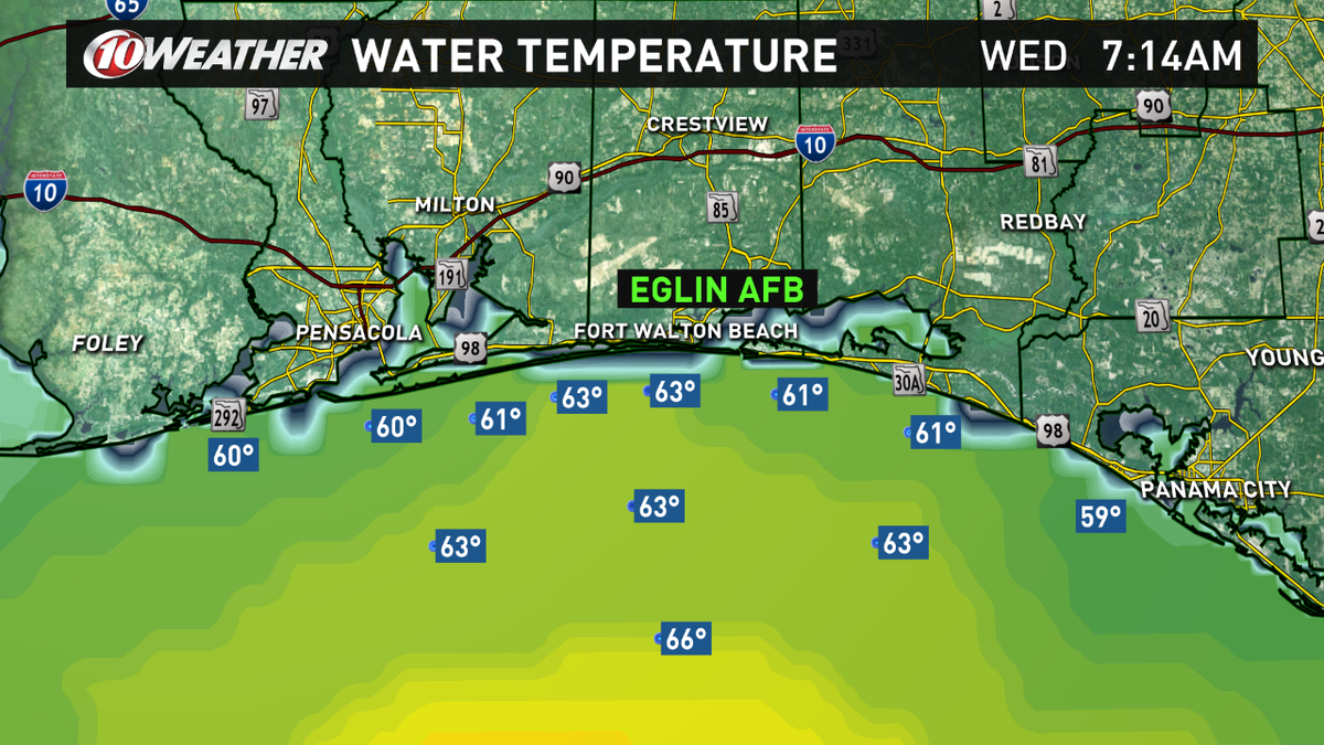 .@CoastalDaybreak @NorahODonnell RT Water temps off of #Eglin AFB in the low 60s, near 60 at beach. #marines #army http://t.co/hC1sXDBu3z