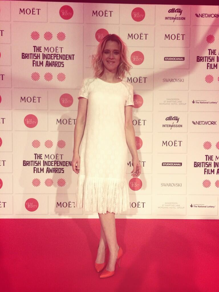 Red carpet is go. Thanks @charlie_brear for the GORGEOUS dress. You can watch us online @BIFA_film #mbifa http://t.co/RkjieeTk1L
