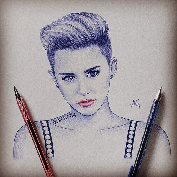 Artistiq on twitter miley cyrus drawn with ballpoint pen 😊 mileycyrus http t co rxsht2rl3a